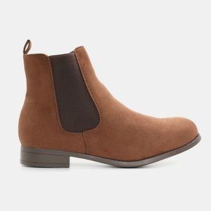 Microsuede Brown Chelsea Ankle Boots